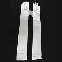 49cm White Ladies Long Satin Evening Party Gloves Fancy Dress Wedding Cocktail (Color: White) = 1958116356
