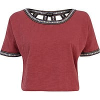 Red cut out back western crop top