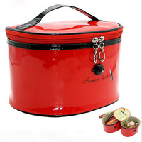 Hot 1 Set 2 bags Brand Women Leather Cosmetic Bags Make Up Travel Toiletry Storage Box Makeup Bag Girl Wash Organizer Cases S051