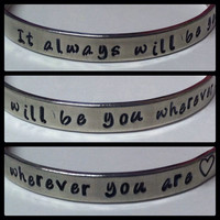 Wherever You Are 5 Seconds of Summer (5sos) hand stamped metal cuff bracelet