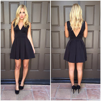 Deep V Tea & Crumpets Dress - BLACK