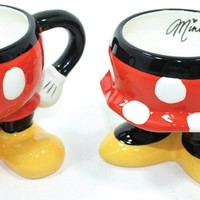 """Disney Parks """"Best of Mickey"""" Mickey & Minnie Pants/Skirt Ceramic Mug - Disney Parks Exclusive & Limited Availability - BONUS 2 Single Cup Arabica Instant Coffee Packets Included"""