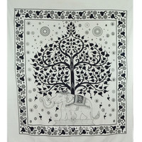 Black and White Elephant Tree Tapestry Fringed Bedspread Bedding on RoyalFurnish.com