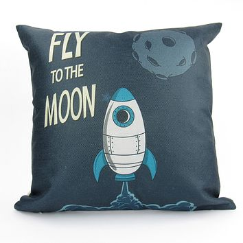 The to Moon Fly | Rocket | Fun Gifts | Pillow Cover | Home Decor | Throw Pillows | Happy Birthday | Kids Room Decor | Kids Room | Room Decor