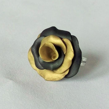 Rose Ring,  Golden Rose, Polymer Clay Jewellery, Rose Jewellery