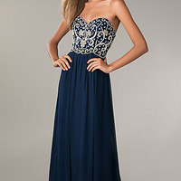 Beaded Strapless Gown by Sean Collection