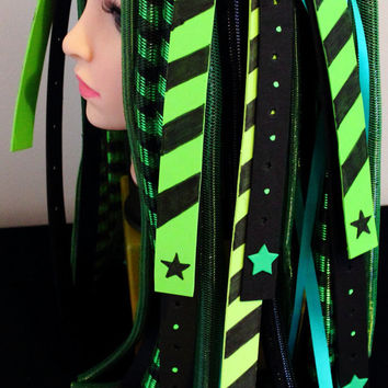Cyberlox Cyber Hair Falls - Alter Ego - Green and Black - Blacklight UV Reactive
