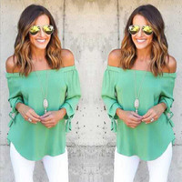 Off the Shoulder Tie Knot Long Sleeve Blouse