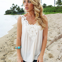 Floral Cutwork Top in Ivory - Popular Item!