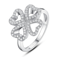 Sterling Silver Four Leaf Clover Heart W. Micro Pave Cubic Zirconia Ring