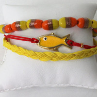 3 layered friendship bracelet set with Enamel Yellow Fish