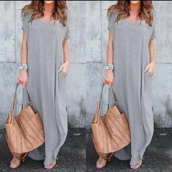 Summer Maxi Dresses  Boho Dress Short Sleeve Round Neck Print Vintage Dress Vestidos Mujer