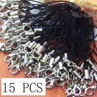 15 PCS 60mm Black Cell Phone Leash Straps with Lobster Clasp Silver Tone Mobile Cellular Zipper Pull Lariat Lanyard Chain Charm (SS.LAB)