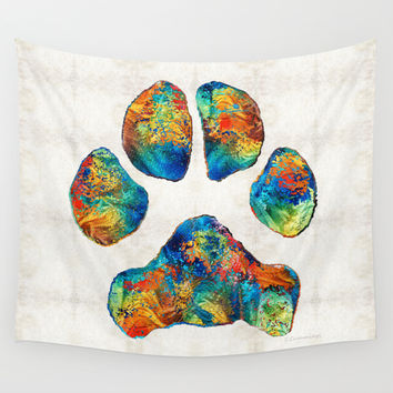Colorful Dog Paw Print by Sharon Cummings Wall Tapestry by Sharon Cummings