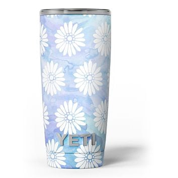 Blue and White Watercolor Flower Print Pattern - Skin Decal Vinyl Wrap Kit compatible with the Yeti Rambler Cooler Tumbler Cups