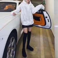 """""""Alexander Wang"""" Casual Fashion Letter Pattern Brushed All-match Angel Wings Long Sleeve Hooded Sweater Women Hoodie Tops"""