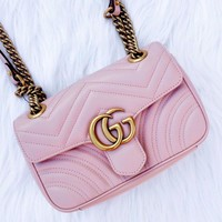 Gucci Fashionable Women Shopping Bag Leather Metal Chain Crossbody Satchel Shoulder Bag Pink
