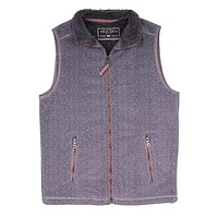 Herringbone Fleece Full Zip Vest in Harley Black by True Grit
