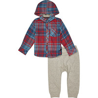 River Island Mini boys red check shirt and jogger outfit