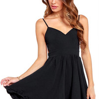 Black Open Back Strappy Dress