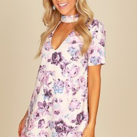 Short Sleeve Floral Shift Dress Taupe