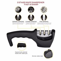 Diamond Stainless Steel 3 Stage Professional Knife Sharpener For Ceramic Or Steel Knives!