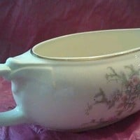 Taylor Smith  Taylor Brides Bouquet Pattern Gravy Boat Excellent Pink Flowers