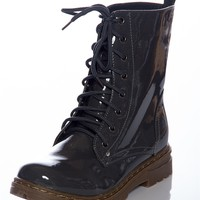 Gloss Grudge Patent Lace Up Boots - Gray from CA Collection by Carrini at Lucky 21