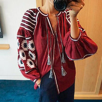 Spring Bohemian Style Embroidery V-Neck Blouse For Women New Elegant Lantern Sleeve Loose Shirt With Tassel MA010