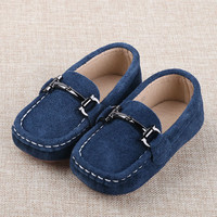 2016 Autumn Genuine Leather Boys Shoes Children Loafers Suede Shoes Brown Red Blue Kids Casual Flats Sneakers Toddler Shoe
