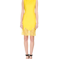 Givenchy Sleeveless Lace-Hem Sheath Dress, Yellow and Matching Items