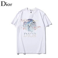 Dior Fashion New Letter Floral Print Women Men Top T-Shirt White