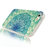 Iphone 4 Case, JAHOLAN Green Totem Flower Clear Edge TPU Soft Case Rubber Silicone Skin Cover for iphone 4S 4 + Free Phone Ring Stent