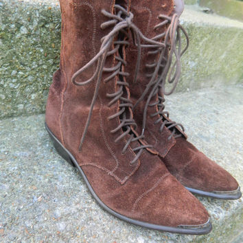 Vintage 80s brown suede lace up western boots sz 8