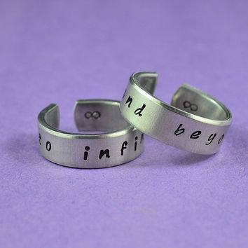 Hand Stamped - to infinity and beyond - Aluminum Couples Ring Set, Skinny Rings, Adjustable, Handwritten Font Version