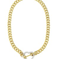 Gold Pave Heart Toggle Necklace by Juicy Couture, O/S