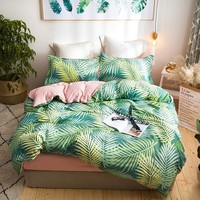 Cool Tropical Plants Palm Leaves Bedding Sets Single Queen King Size Duvet Cover Set Bed Linen Quilt CoverAT_93_12