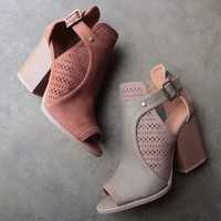 final sale - sweet talk perforated peep toe bootie - more colors