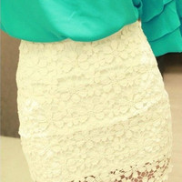 Free shipping 1pc Crochet Embroidery Floral Lace Double Layer Lining Bodycon Mini Short Skirt