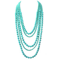 Layering Turquoise Beaded Long Necklace