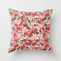 Wild Roses - Seamless Pattern Throw Pillow by Paula Belle Flores