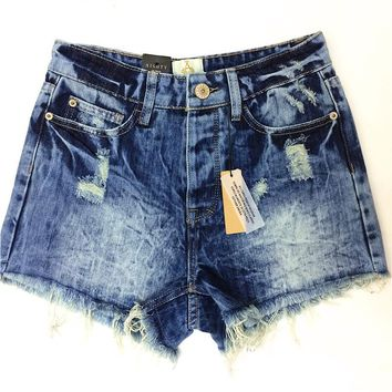 2014 Destroyed Dirty Ripped Distress High Waist Denim Shorts Jeans For Women Feminino Feminina mini shorts jeans 3942K9