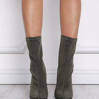 Cape Robbin Olive Sock Ankle Boots