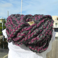 Chunky Warm Infinity Scarf Link in Merlot and 2 Shades Heather Gray