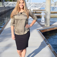 Zippered Silky Blouse