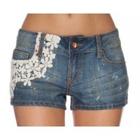 Dollhouse Premium Juniors Crochet Overlay Denim Shorts