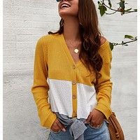 Autumn and winter new fashion women's V-neck long-sleeved stitching sweater