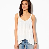AE Cascading V-Neck Tank, Ebony Grey | American Eagle Outfitters