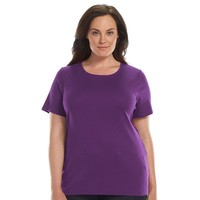 Croft & Barrow Essential Printed Crewneck Tee - Women's Plus Size, Size: