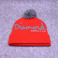 Diamond Supply Co Gray & Red Pom Beanie
